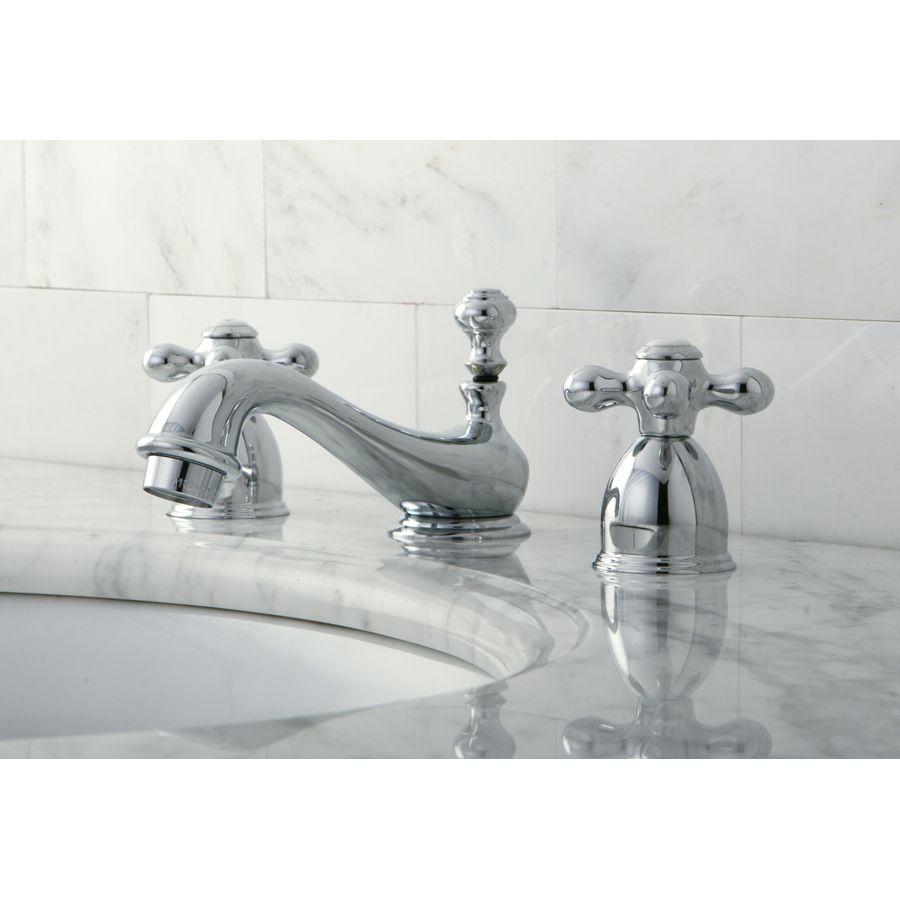 Shop Kingston Brass Restoration Chrome 2 Handle 4 In Mini Widespread Bathroom Sink Faucet Dr Bathroom Faucets Widespread Bathroom Faucet Bathroom Sink Faucets [ 900 x 900 Pixel ]