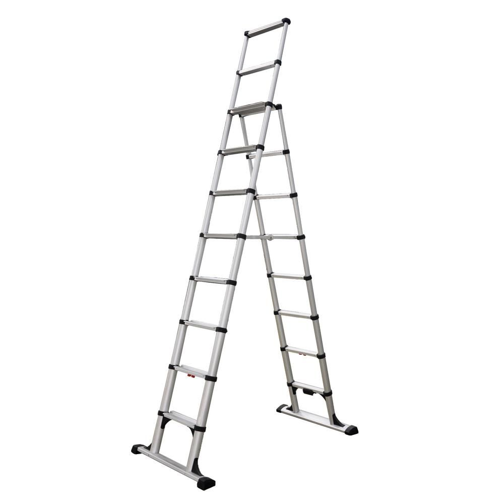Telesteps 10 Ft Aluminum Professional Wide Step Telescoping A Frame Ladder Osha Compliant With 14 Ft Reach Height 14es A Frame Ladder Adjustable Ladder Ladder