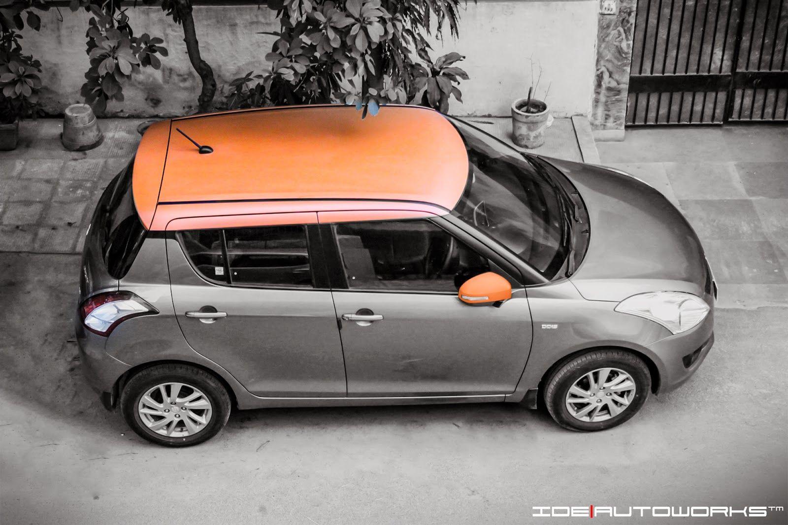 Ide Autoworks Swift With Matte Orange Roof Swift Orange Car Wrap [ 1066 x 1600 Pixel ]