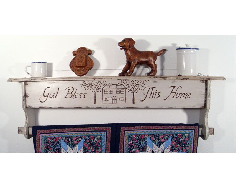 God Bless This Home Hanging Quilt Rack Shelf. Hand Carved