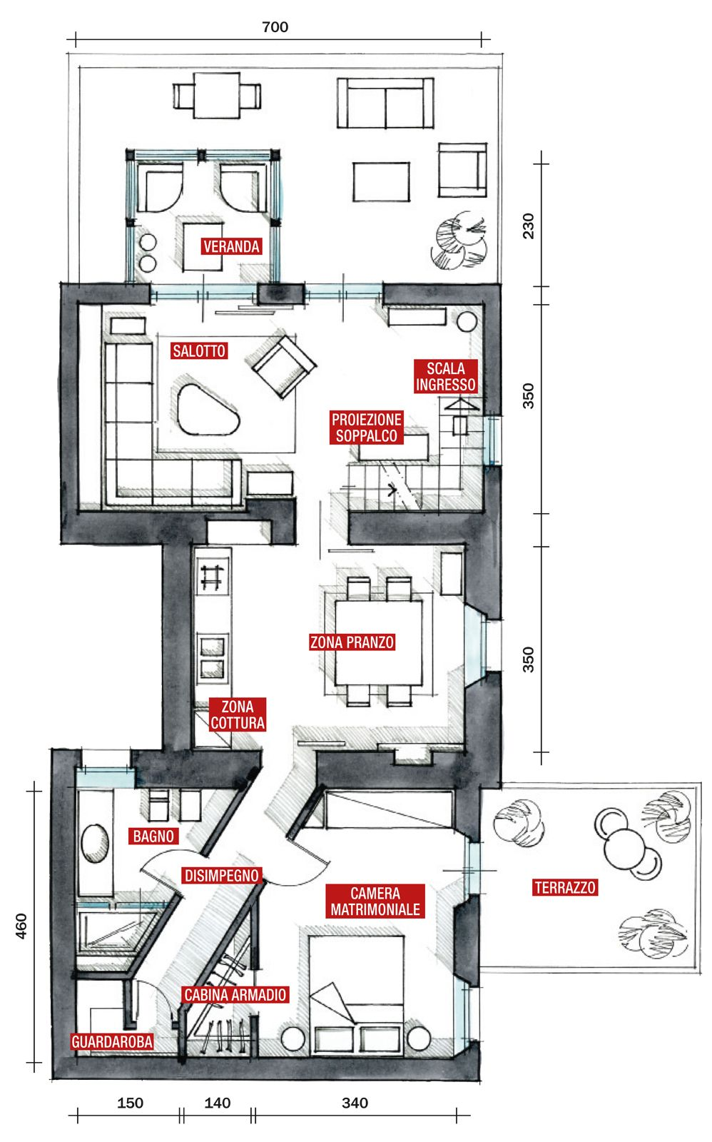 Progetto Appartamento 85 Mq 70 mq: casa con veranda | progetto di appartamento, case