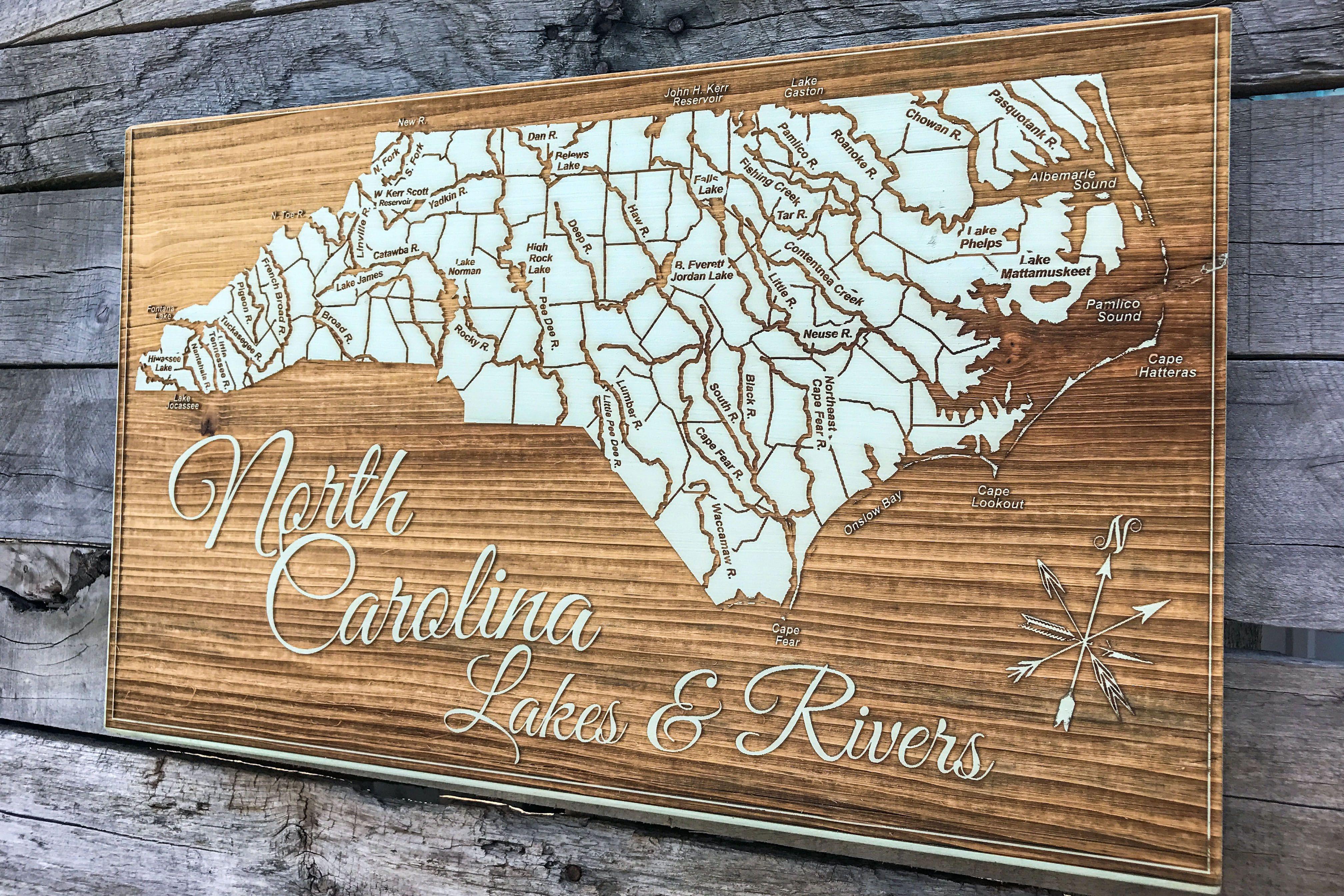 North Carolina Lakes and Rivers Map in