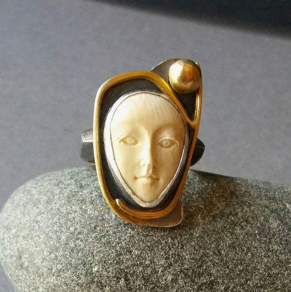 Bone Ring Handmade Carved Bone Face Ring In Oxidized Etsy Carved Bone Face Bone Carving Bone Ring