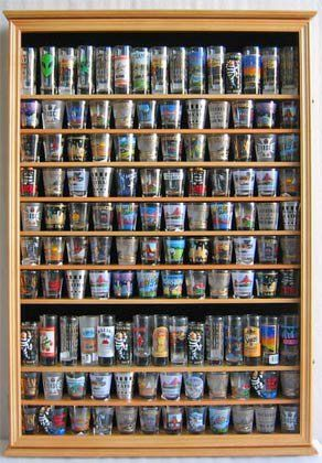 Large 144 Shot Gl Display Case Wall Holder Cabinet 1 Door For 100 Exposure