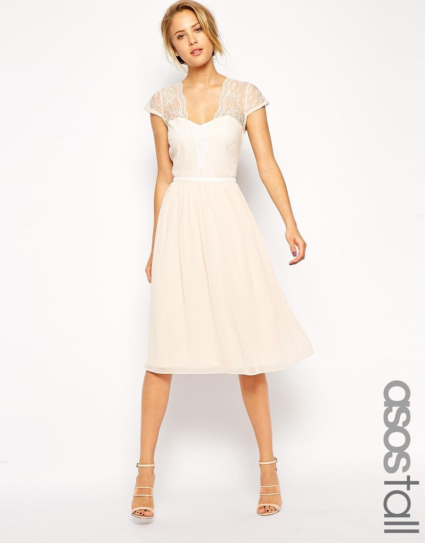 Image 1 of ASOS TALL Scallop Lace Edge Midi Dress | Style ...