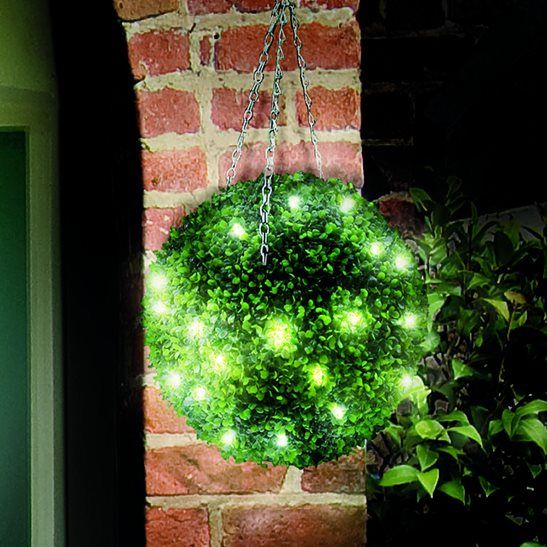 Superb Description Decorate The Outside Of Your Home With This Stylish Pre Lit  Topiary Hanging Ball.