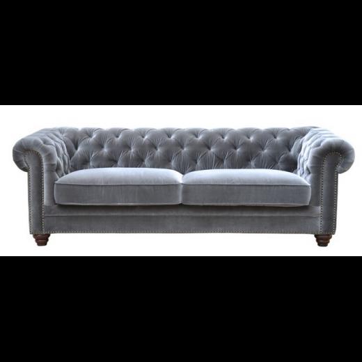 Joshua Chesterfield Sofa Grey Velour Velvet