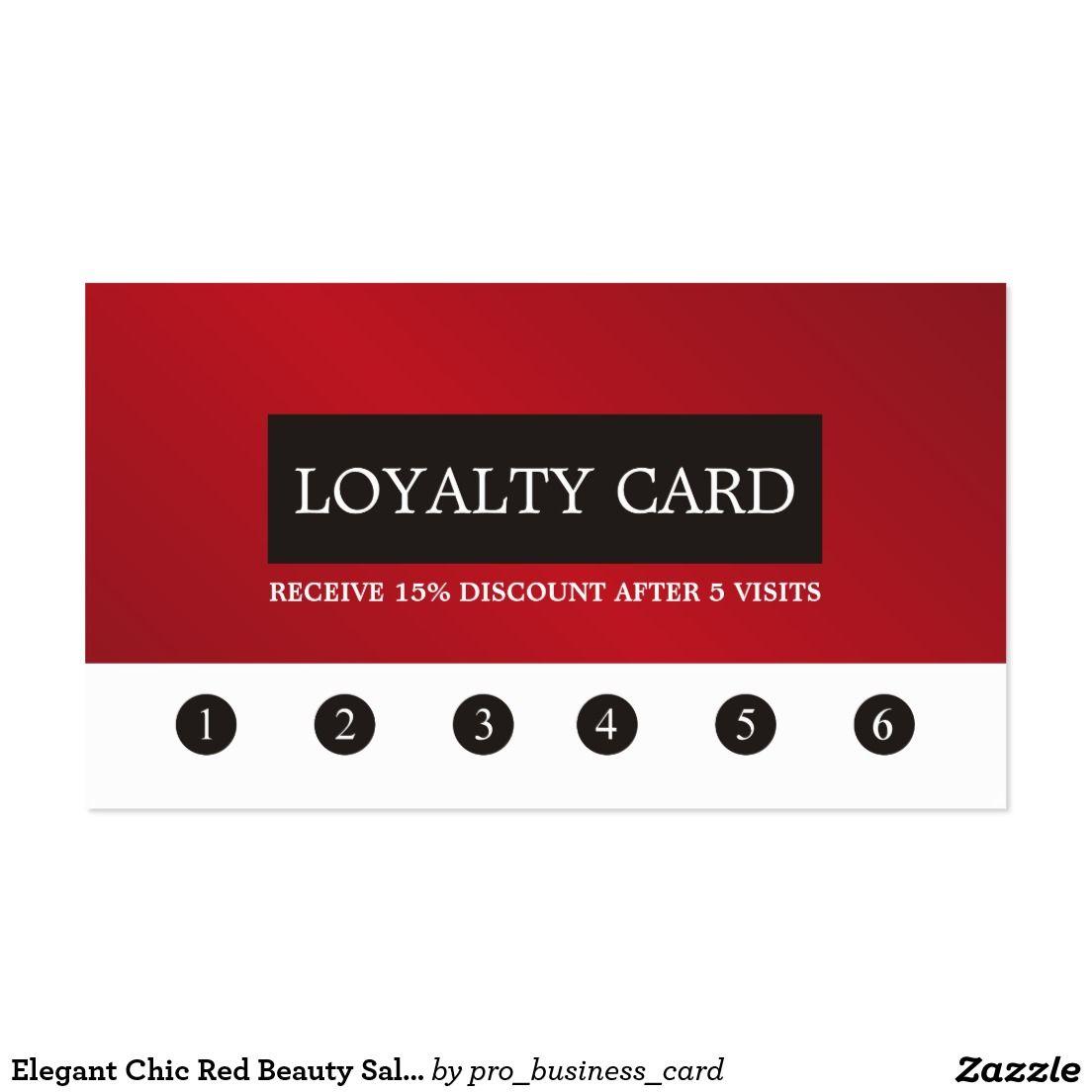 Elegant Chic Red Beauty Salon Loyalty Card | Loyalty Cards Design ...