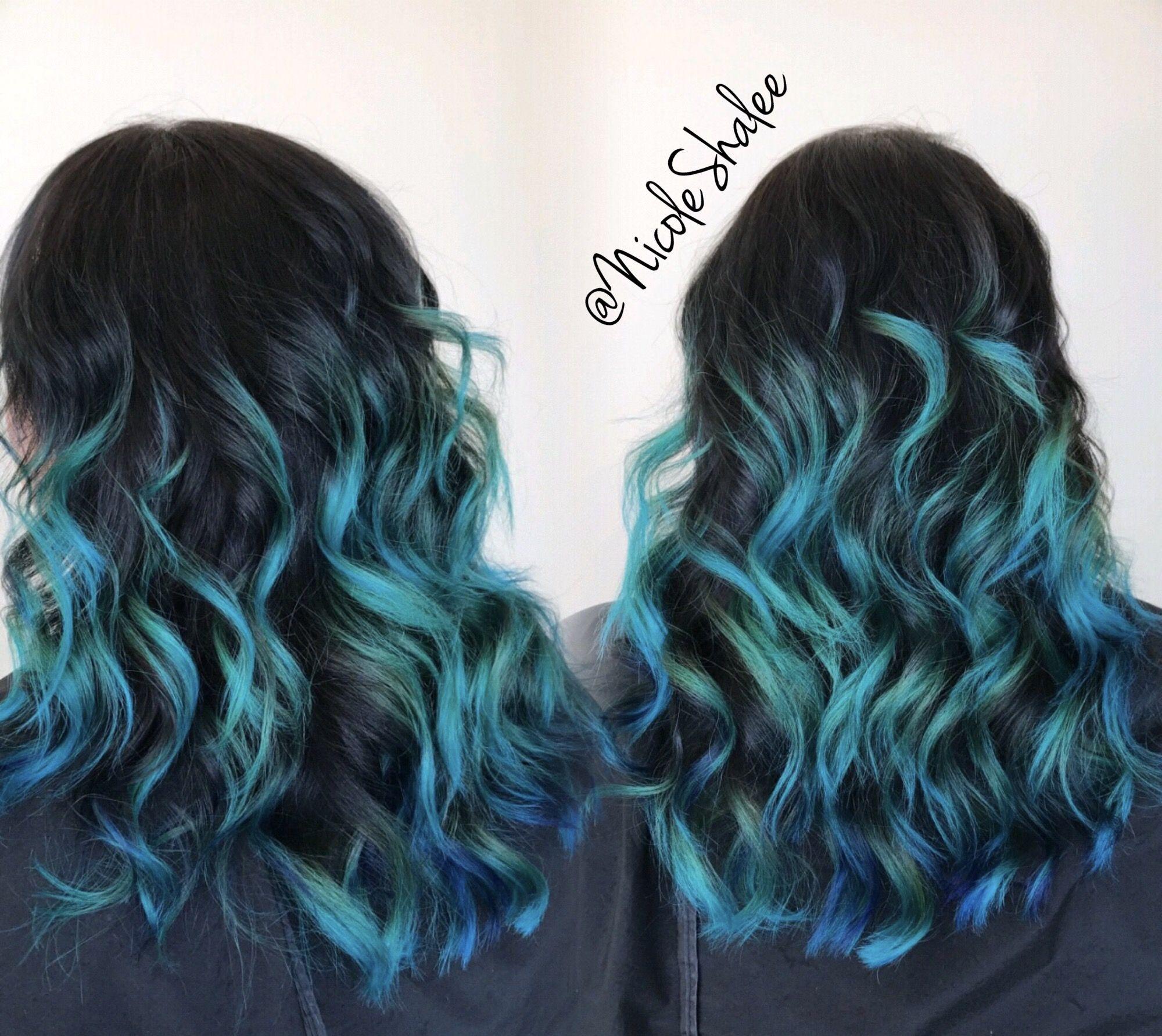 Mermaid Hair Blue Hair Teal Hair Medium Length Hair Wavy Hair