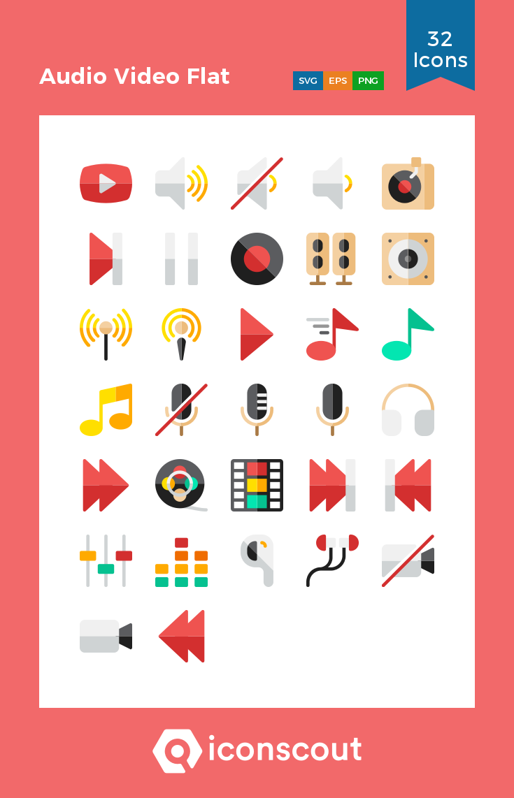 Download Audio Video Flat Icon Pack Available In Svg Png Eps Ai Icon Fonts Flat Icons Set Create Icon Icon Set