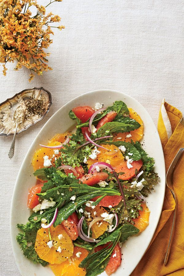 Use your favorite citrus for this refreshing salad. We love the colorful mix and flavor combination of two navel oranges, one blood orange, and Ruby Red grapefruit. No matter what fruit you choose, buy an extra navel orange to juice for the dressing.    Recipe:Citrus-Kale Salad