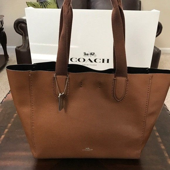 COACH DERBY TOTE PURSE IN PEBBLE LEATHER HAND BAG BROWN  09a85a52d7084