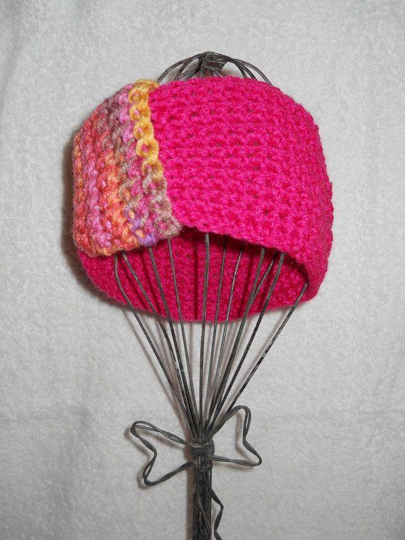 pink multi-color crochet headband
