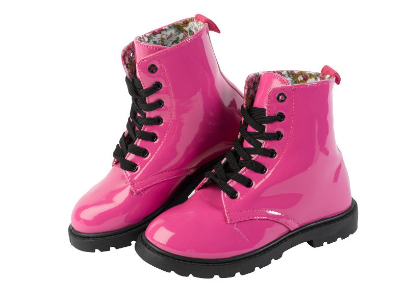 girls pink combat boots