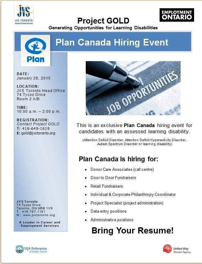Job Fair January 28 With Plan Canada Bring A Resume Plan Canada How To Plan Education Related
