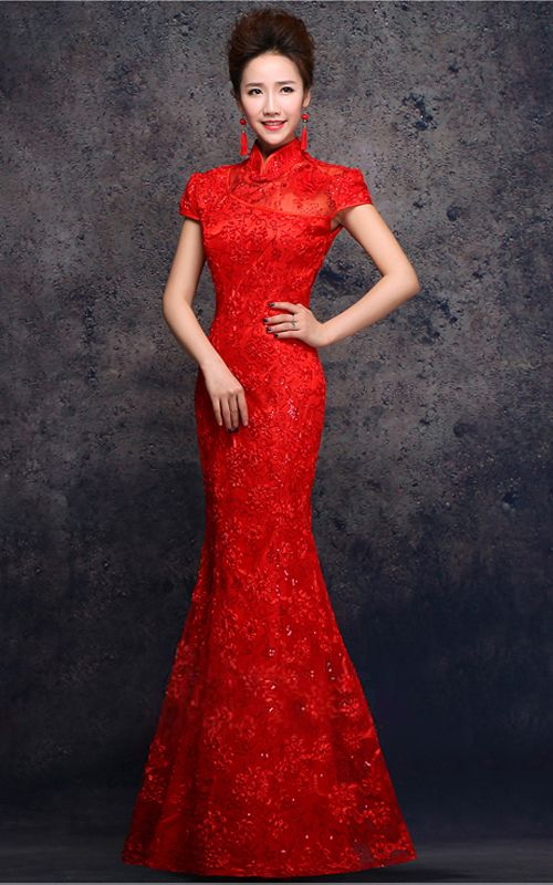 20c33ba11f Cap sleeve 3D lace cheongsam floor length mermaid Chinese red wedding dress