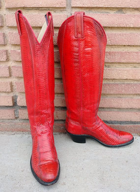 b20b2890007 Vintage 1980s Cowboy Boots 80s Western Red Python Snakeskin Dan Post ...