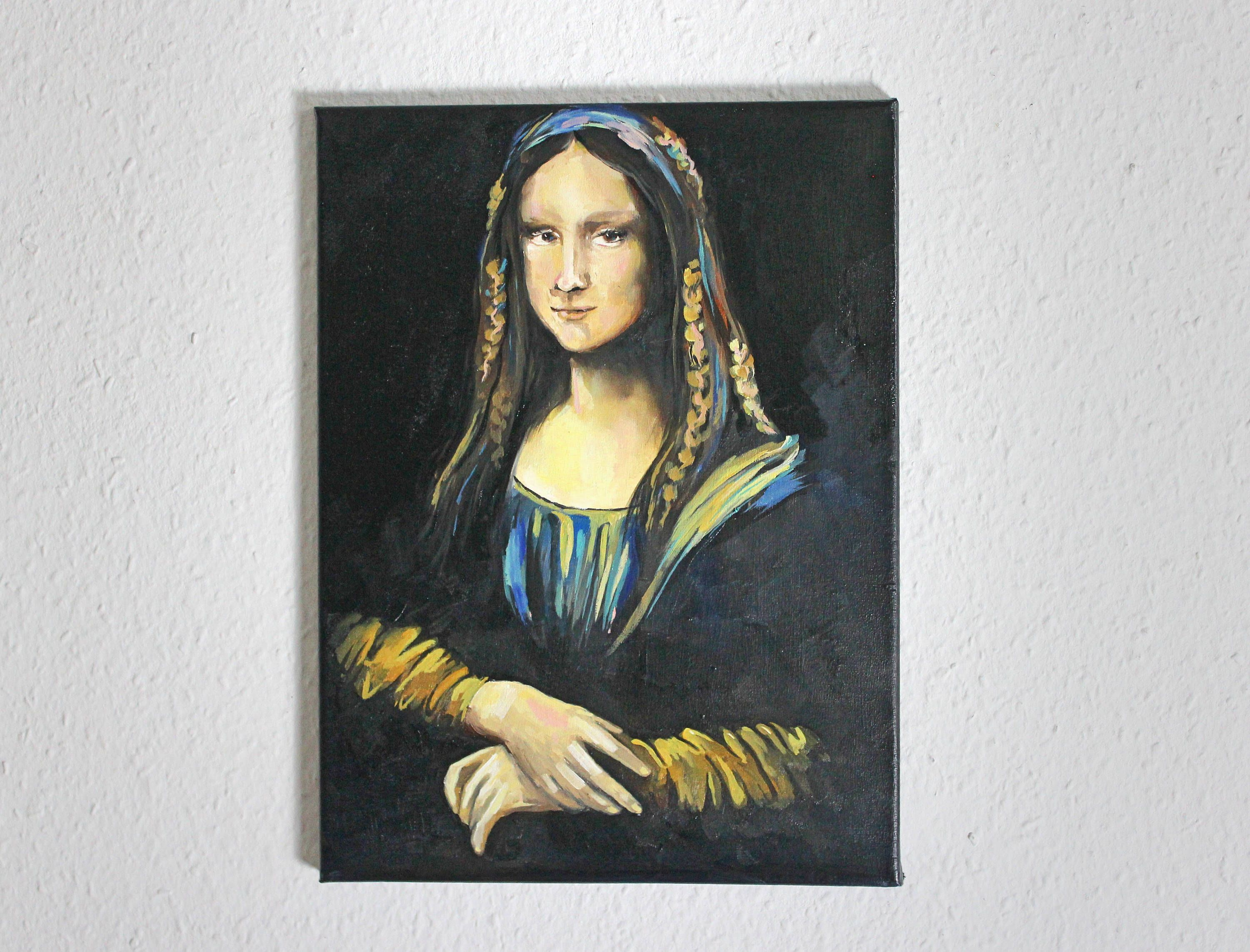 Oil Painting On Canvas Mona Lisa Contemporary Art Classic Painting With A Modern Twist Portrait Portrait Painting Classic Paintings Oil Painting On Canvas