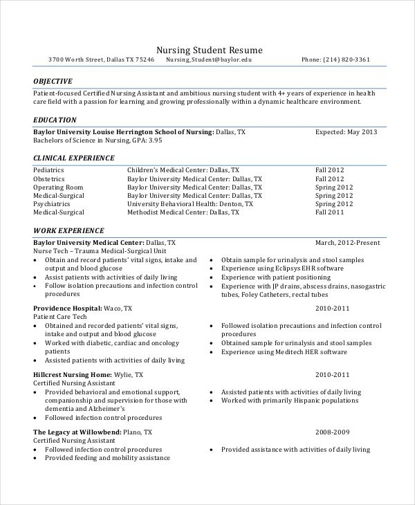 Sample Resume Nursing Assistant Student Nurse Resume  12 Nursing Resume Template  When You Try To .