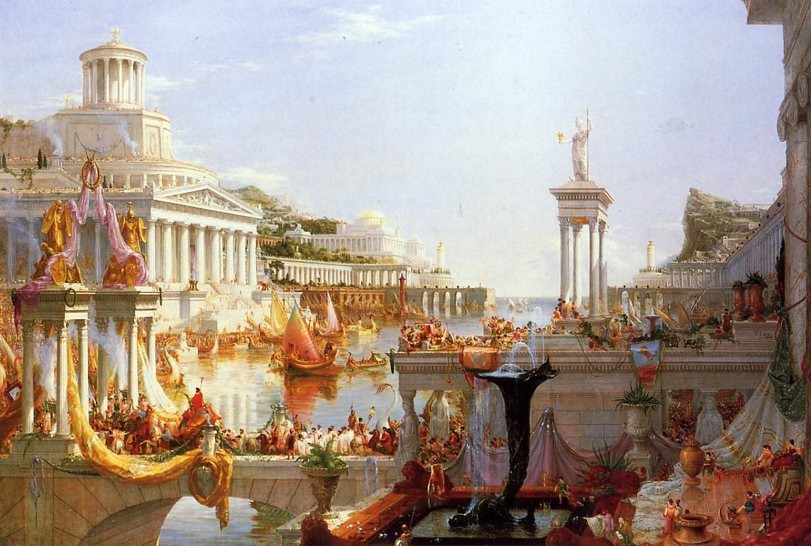 The Course of Empire, by Thomas Cole (1836), part of a series of paintings showing the development of a Roman-style city from its founding to its destruction. The series was used in the cover design of the Fallen Olympians series.