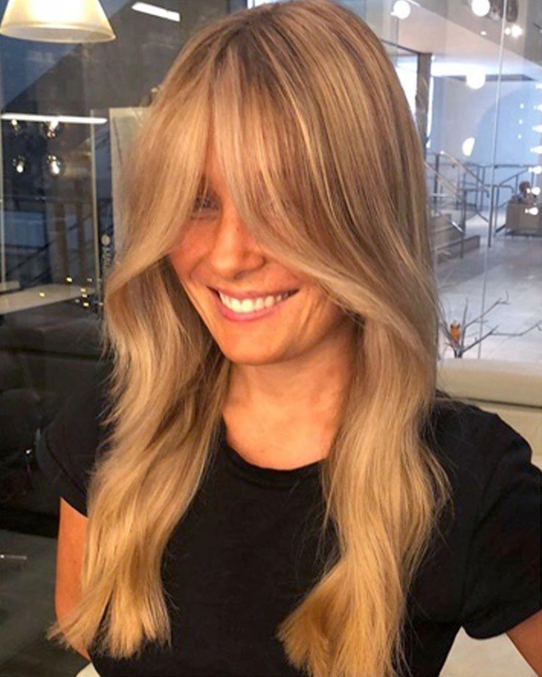 Perth Hair Salon On Instagram Curtain Fringe Realness Loving This Look By Sarahgabriella Mauricemeade For In 2020 Fringe Haircut Long Hair Styles Thin Hair Bangs