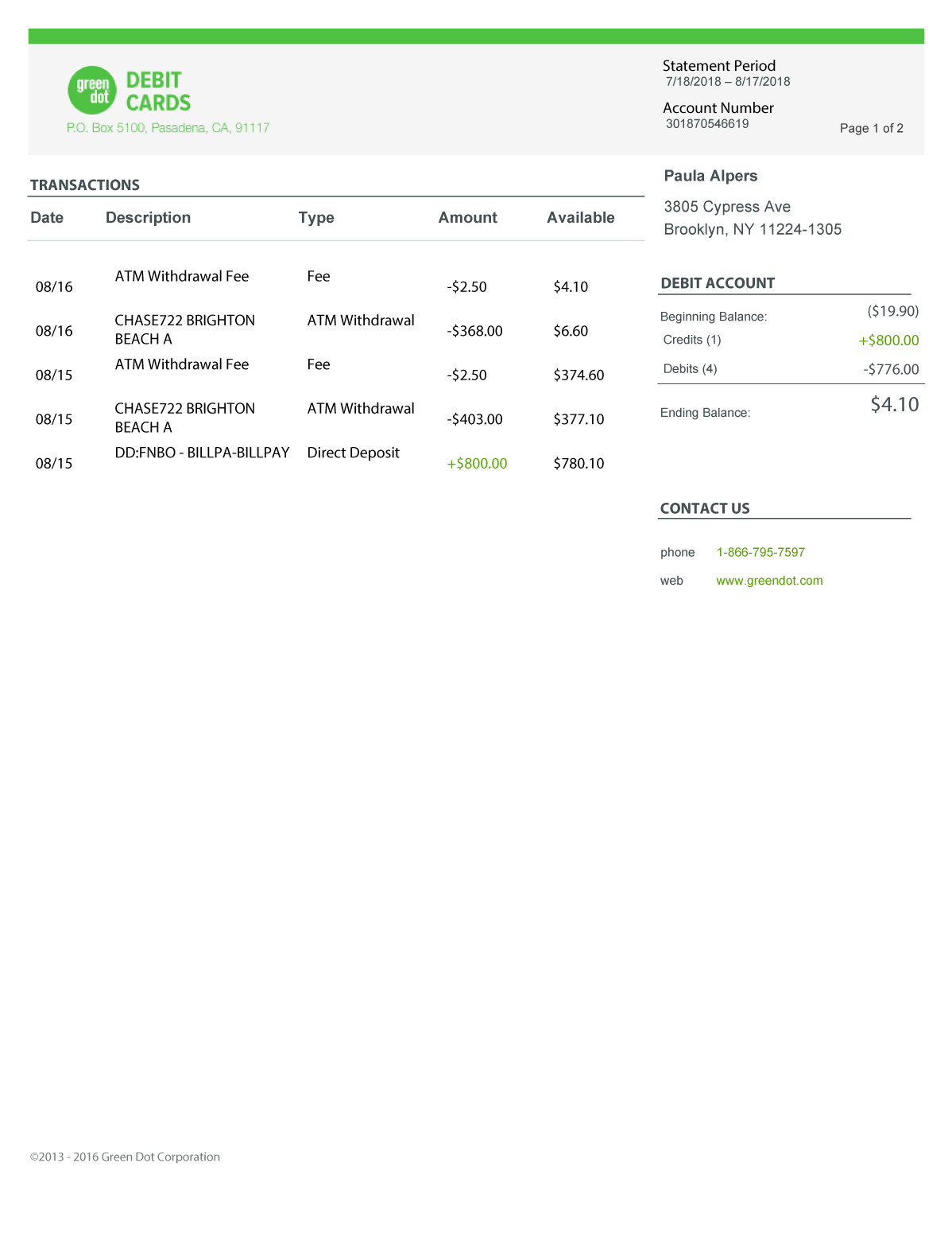 Green Dot Bank Statement Psd Template In 2021 Bank Statement Statement Template Psd Templates