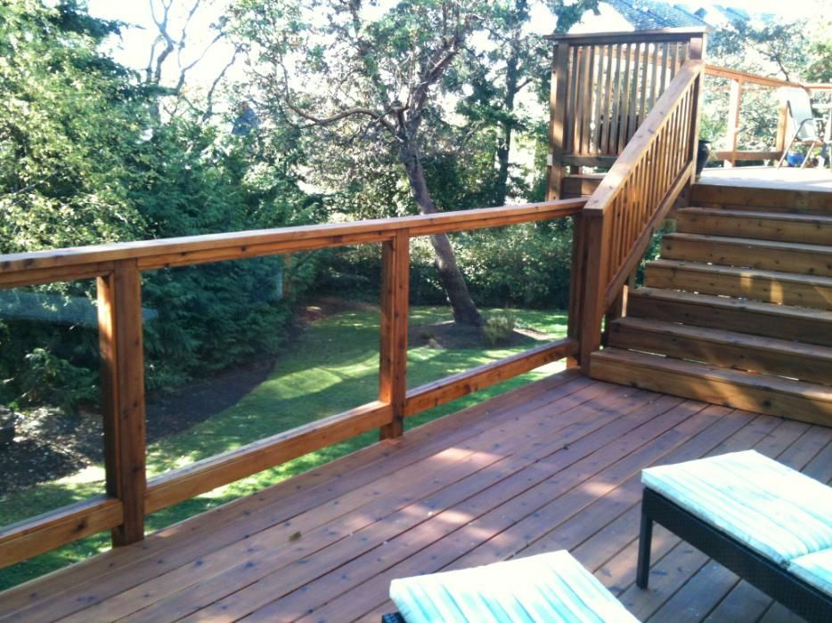 Tempered glass deck railing 41405894 outdoor for Garden decking glass panels