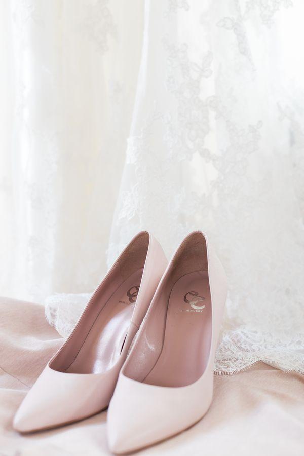 60450e38042 Simple yet elegant pastel pink bridal heels