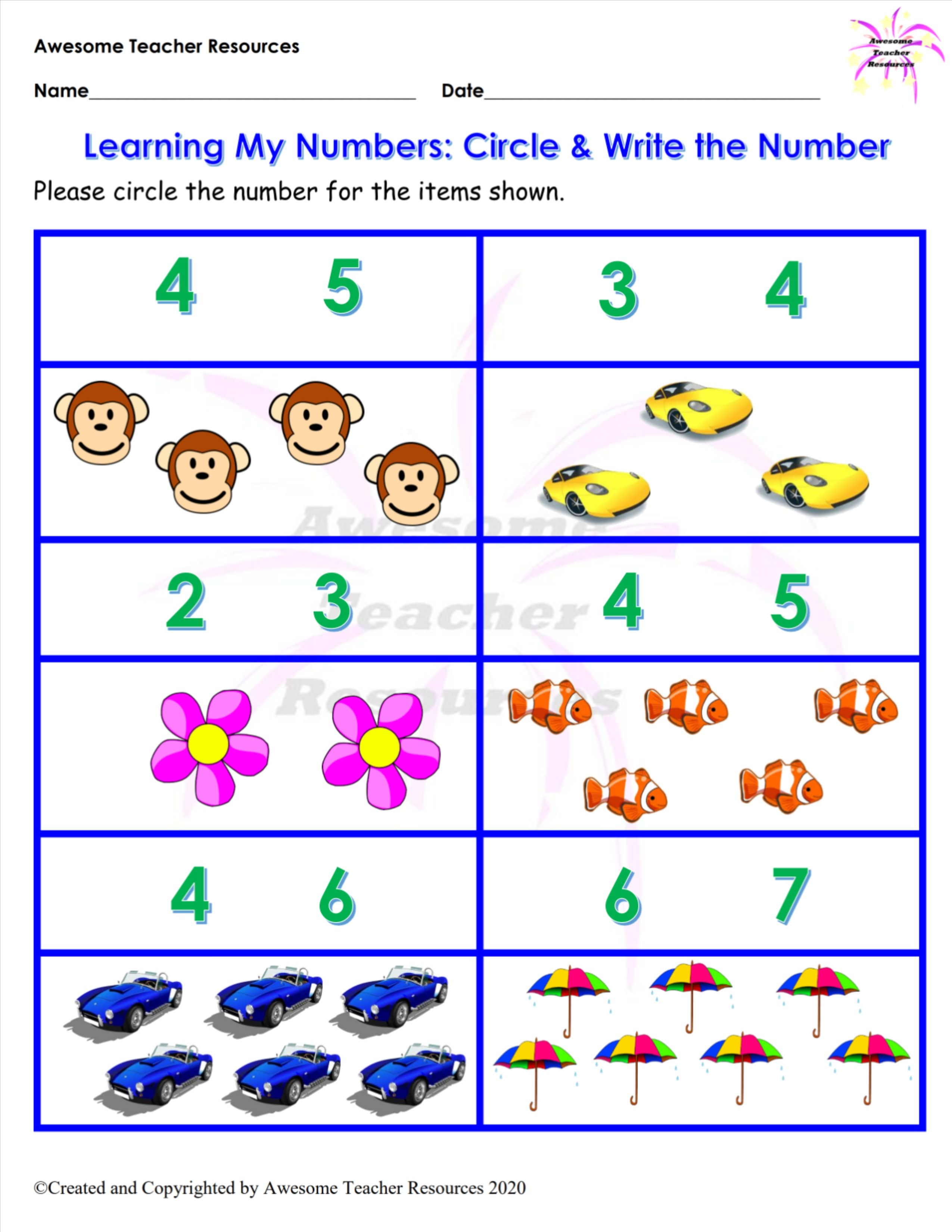 Learning My Numbers Circle Write The Number Worksheet Number Worksheets Worksheets Teacher Resources [ 3300 x 2550 Pixel ]
