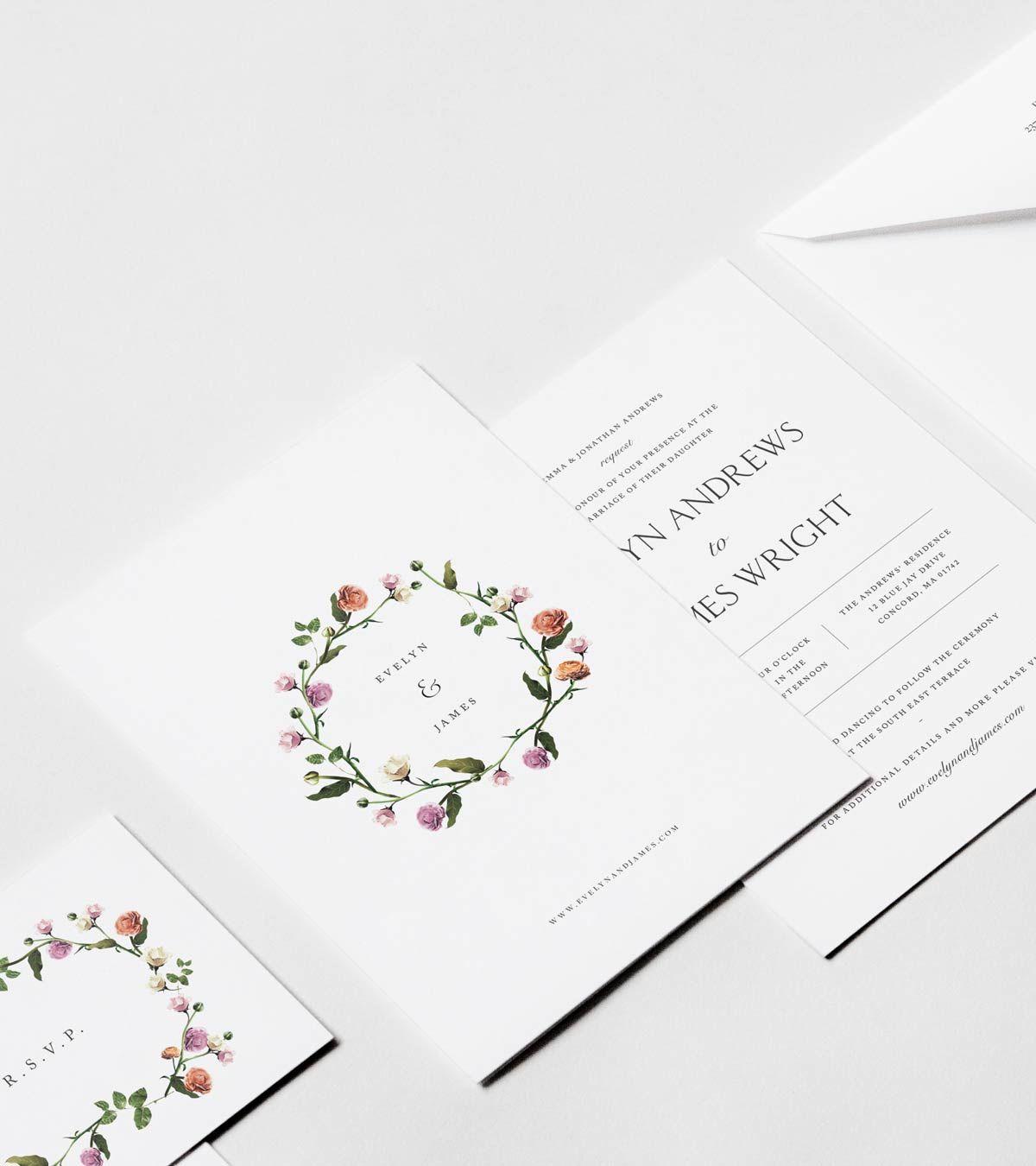 Wildflower Wreath Invitation Suite — Venamour | Wedding - Printable ...