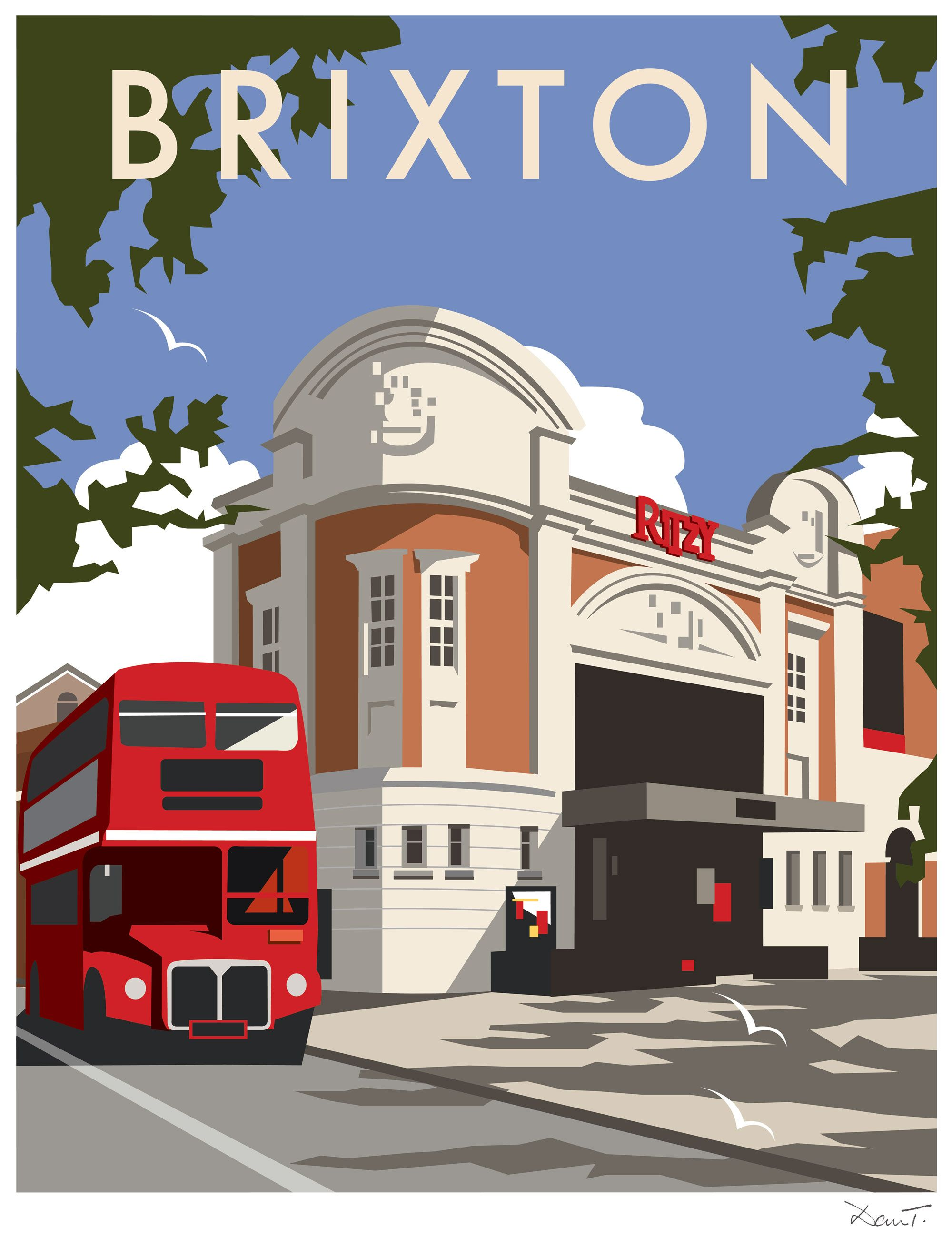 brixton dt24 town and city print by dave thompson http. Black Bedroom Furniture Sets. Home Design Ideas