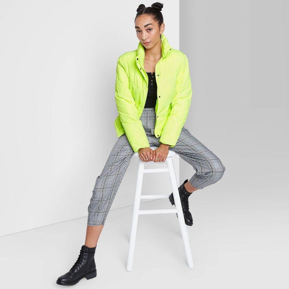 Women S Cropped Retro Puffer Jacket Wild Fable Lime Xxl Green Women Crop Puffer Jackets Jackets [ 1000 x 1000 Pixel ]