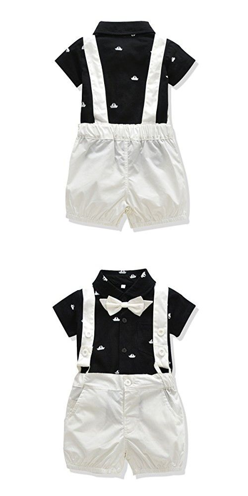 f39c9d307 Ferenyi US Baby Boys Bowtie Gentleman Romper Jumpsuit Overalls Rompers (0-6  months, Black 3)