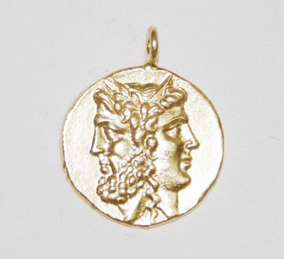 Gold ancient coin pendant greek janice men and womens pendant gold ancient coin pendant greek janice men and womens mozeypictures Gallery