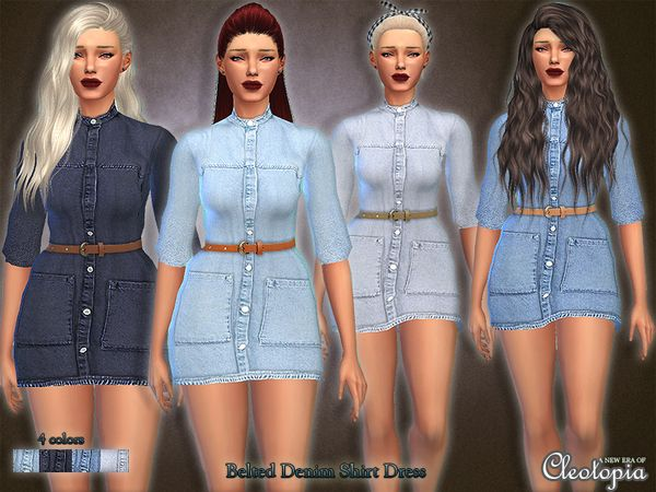fed54a2864b The Sims Resource  Set28- Belted Denim Shirt Dress by Cleotopia • Sims 4  Downloads