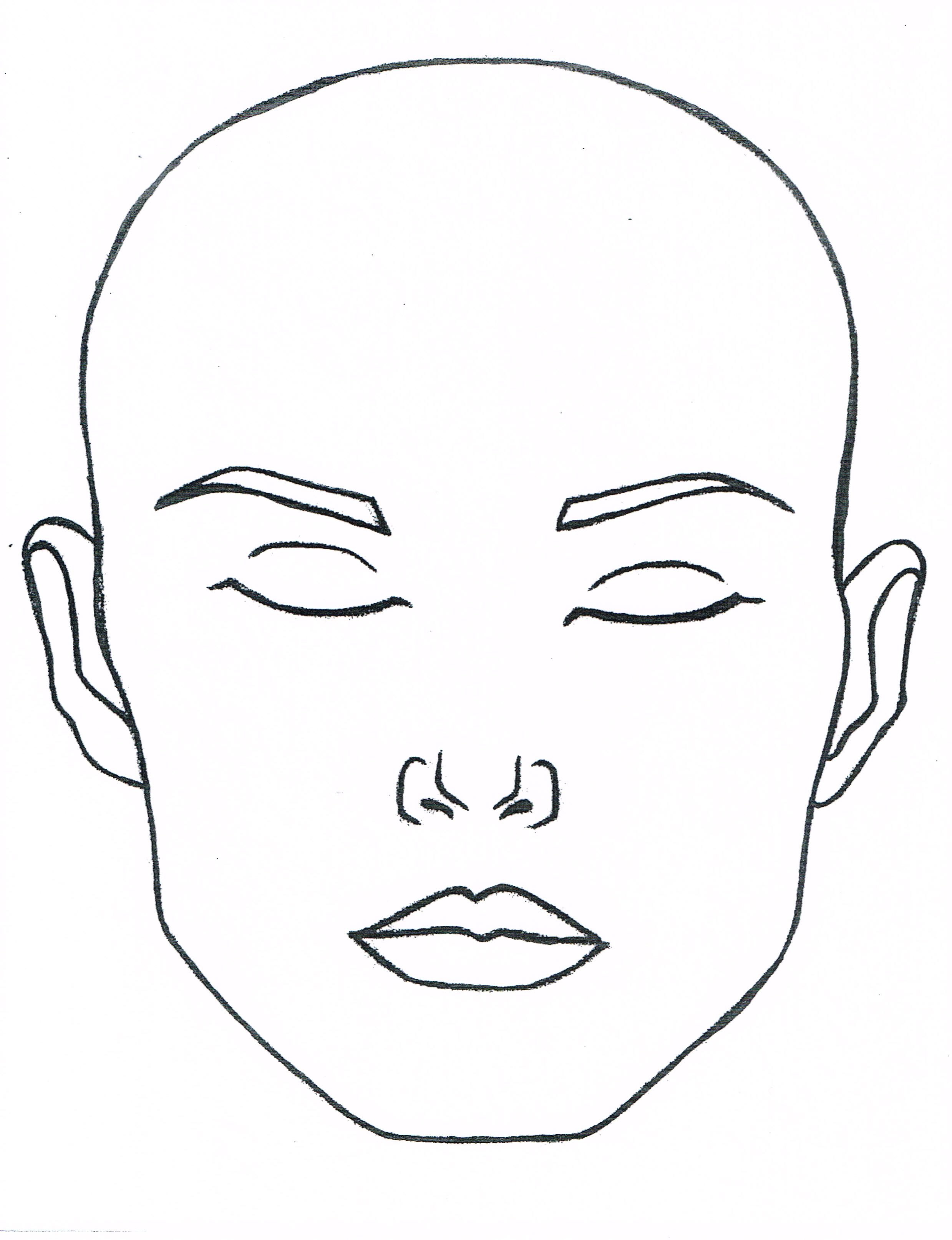 blank closed eyes face to print and laminate or paint for ...