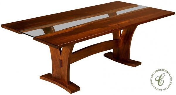 Syosset Modern Live Edge Trestle Table - Countryside Amish Furniture