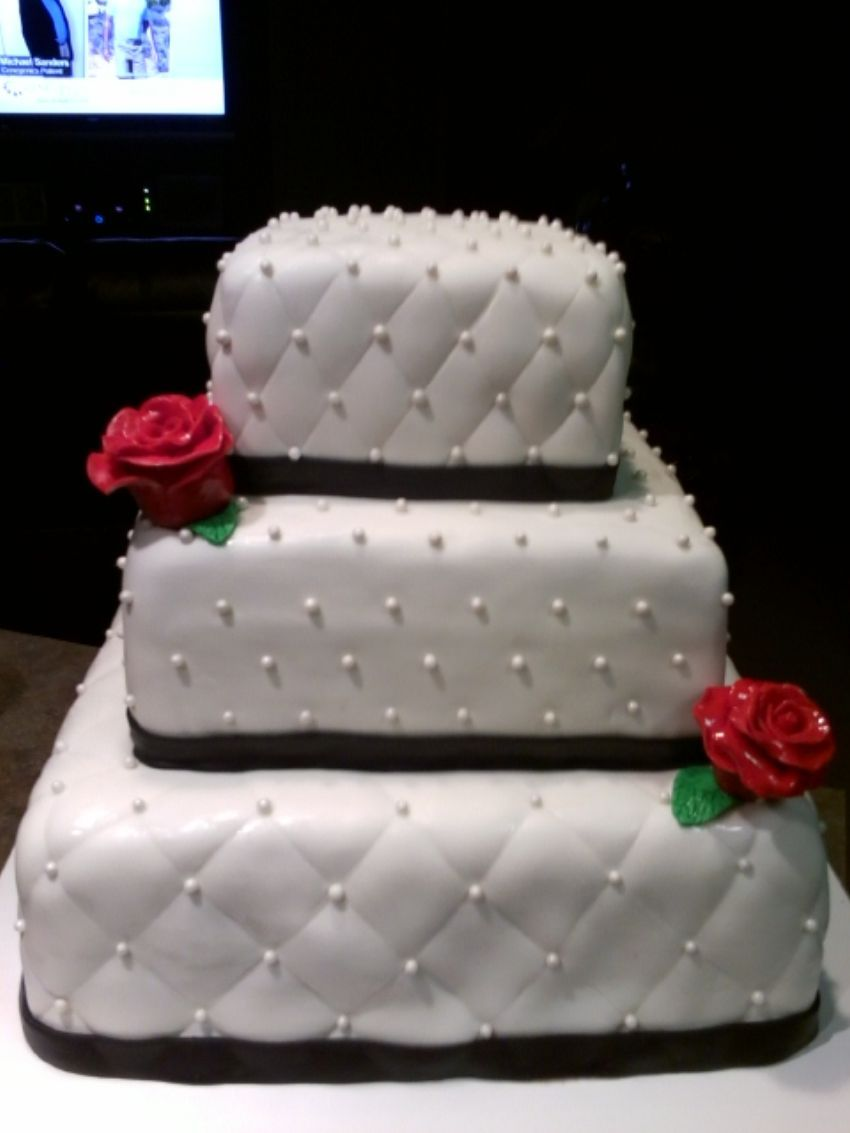 3 TIER WHITE SQUARE WEDDING CAKE WITH BLACK FONDANT TRIM RIBBON