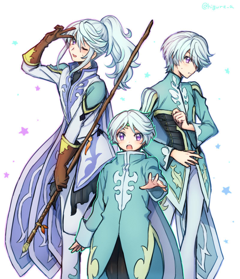 age_progression blue_hair blush cape circlet dash10 long_hair male_focus md5_mismatch mikleo_(tales) multicolored_hair multiple_persona one_eye_closed open_mouth ponytail short_hair smile staff tales_of_(series) tales_of_zestiria v violet_eyes white_hair
