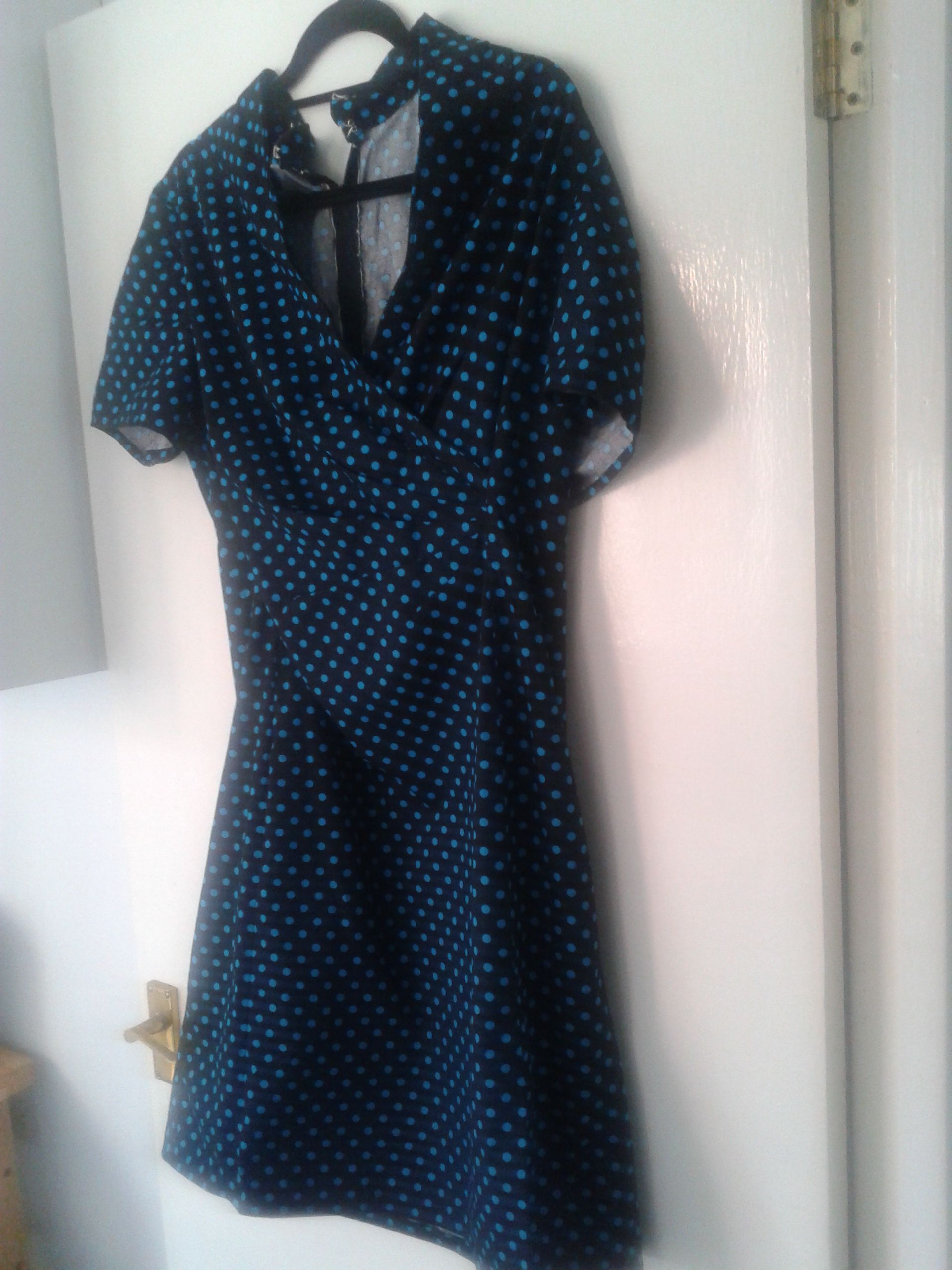Sewing - Dress - Black with blue polka dots (Butterick B5849). I wore it to Mike's gig. As the dress has a slight forties feel with this fabric, if I made this again I would make the skirt longer and narrower, with the split at the back. Very happy with it though.