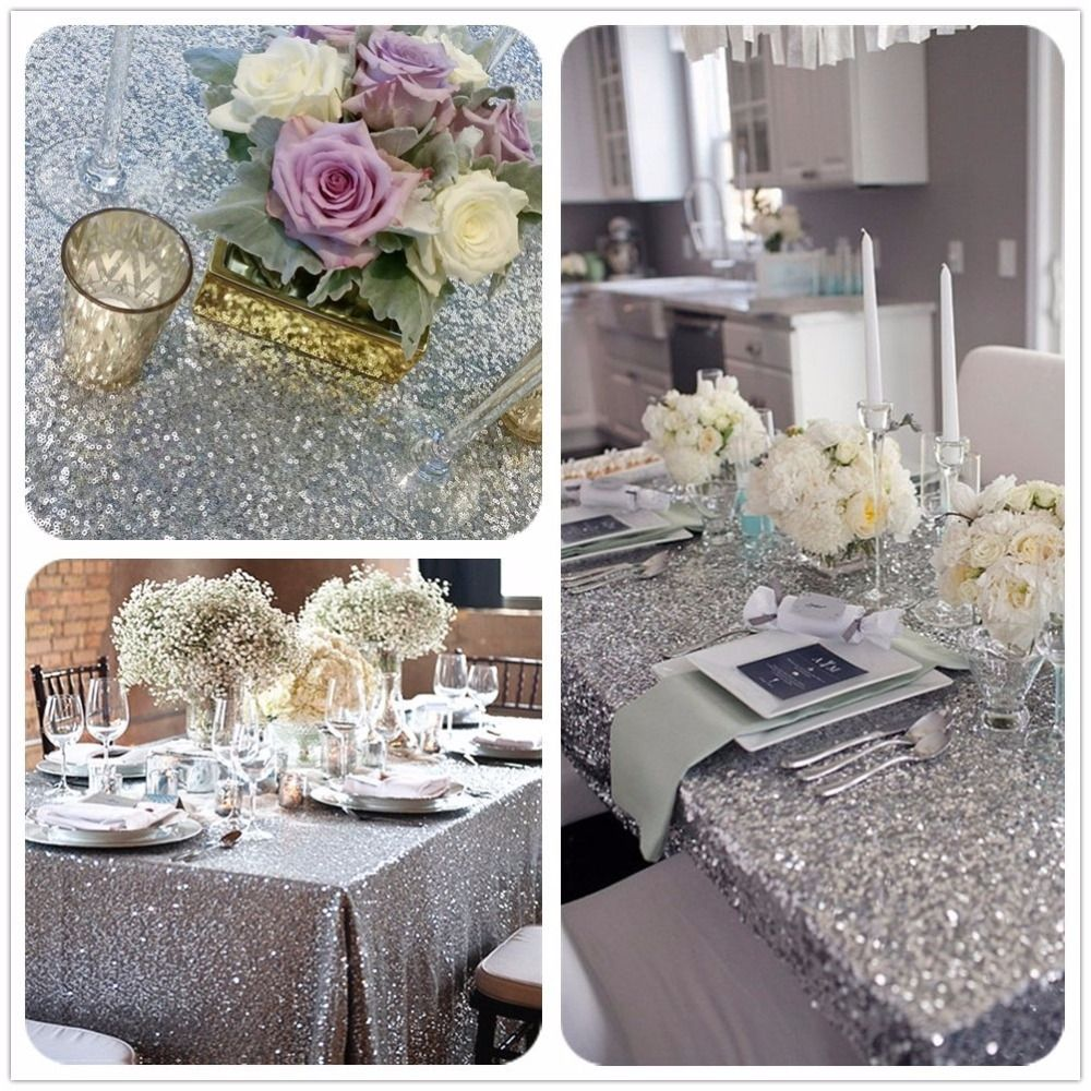 8ft Table Silver Sequin Tablecloth Wedding Cake Tablecloth Square