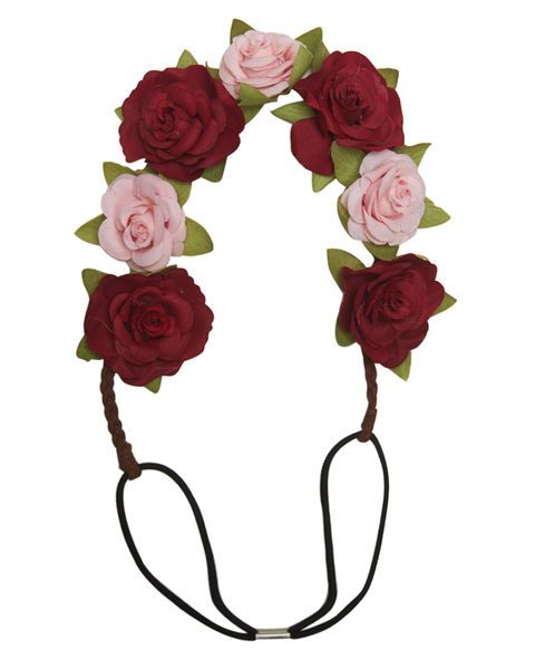 In a romantic design, this headwrap features large faux roses of two  different soft colors decorating the top half. The entire band is  elastic for easy and comfortable wear.      Man Made Materials     Imported