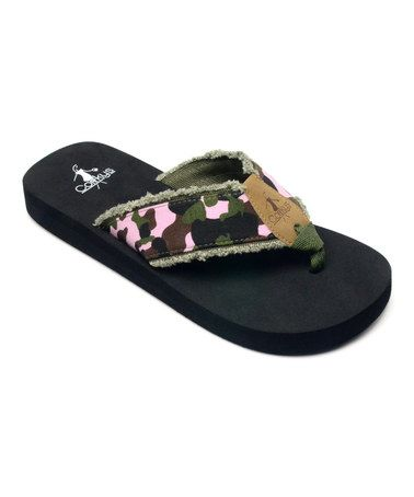 e94cbaf8c8d943 Look what I found on  zulily! Pink Camo Star Flip-Flop by Corky s ...