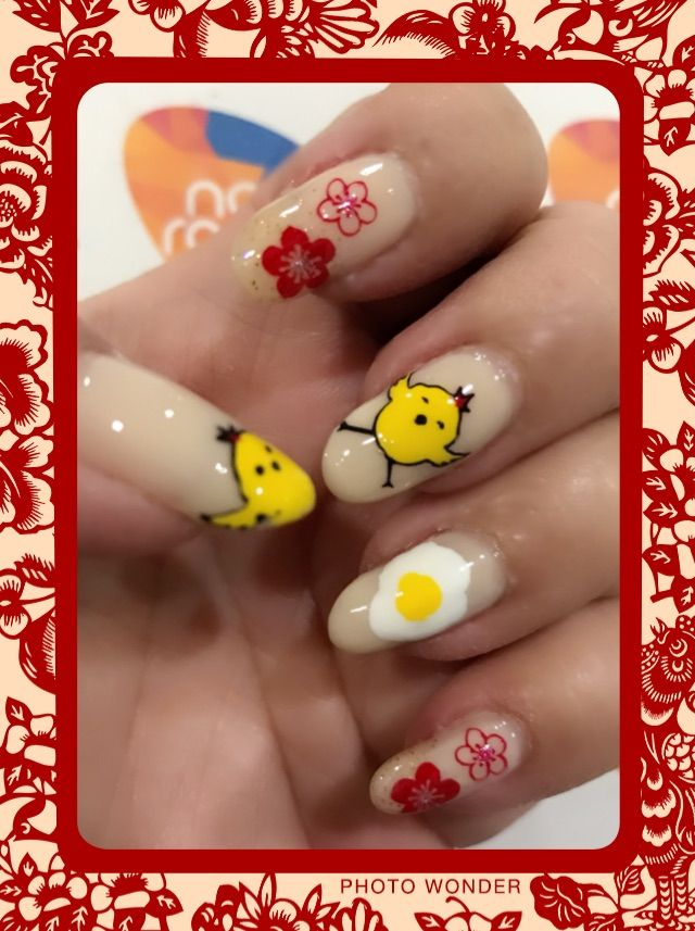 Chinese New Year cute chicken nailart using stamping technique ...