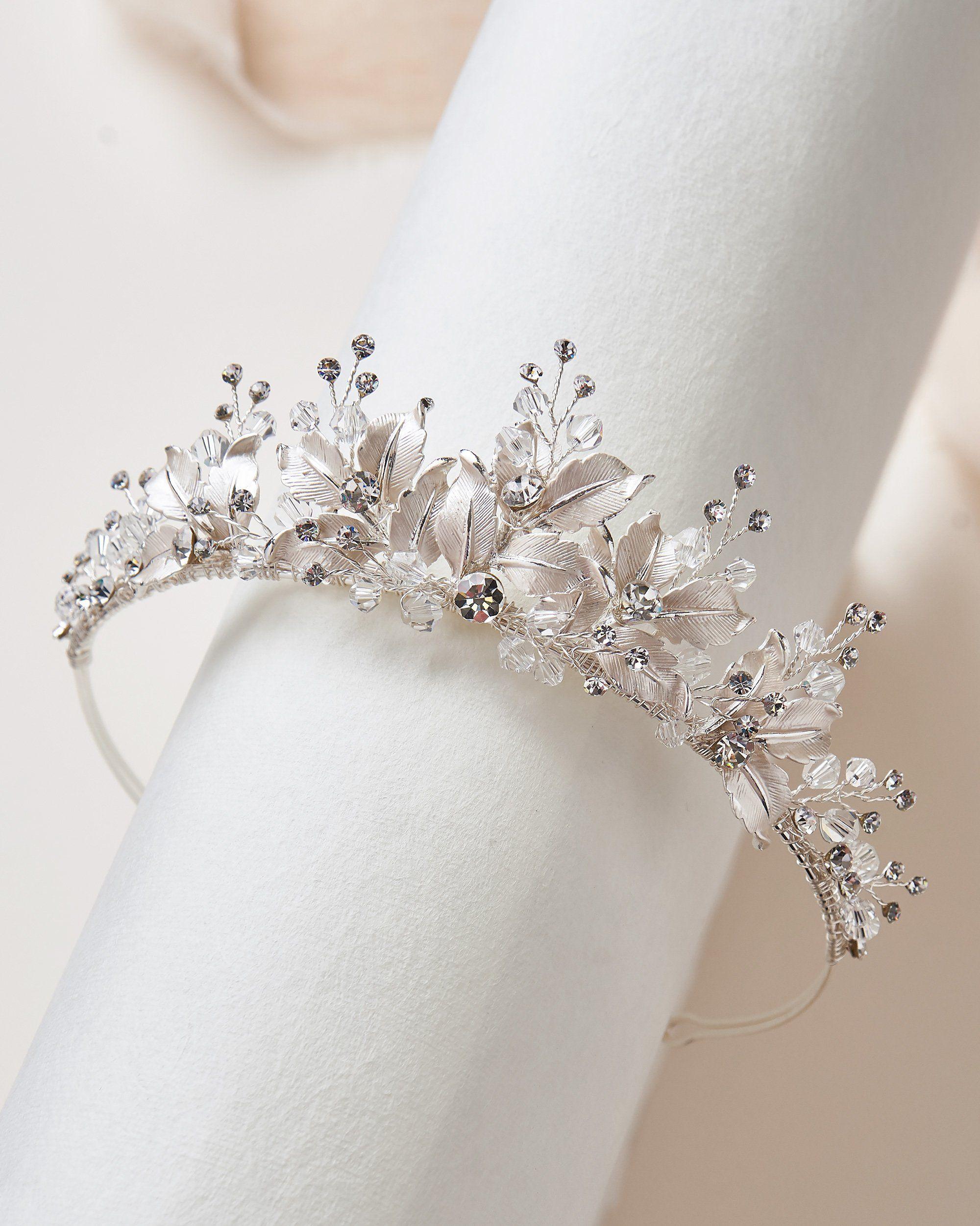 Juliet Floral Tiara - Silver