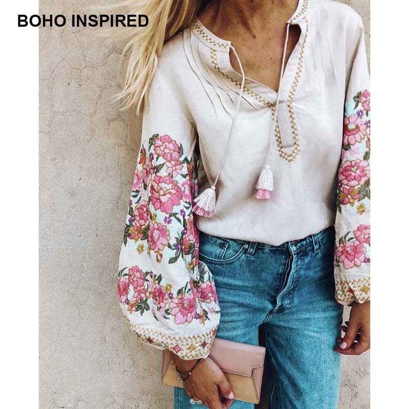 Boho Inspird Floral Haftowane Bluzki Dlugim Rekawem Latarnia V Neck Tassles Koszule Damskie Chic Ukrainy Bluzki Topy 2 Boho Shirts Boho Fashion Women Shirt Top