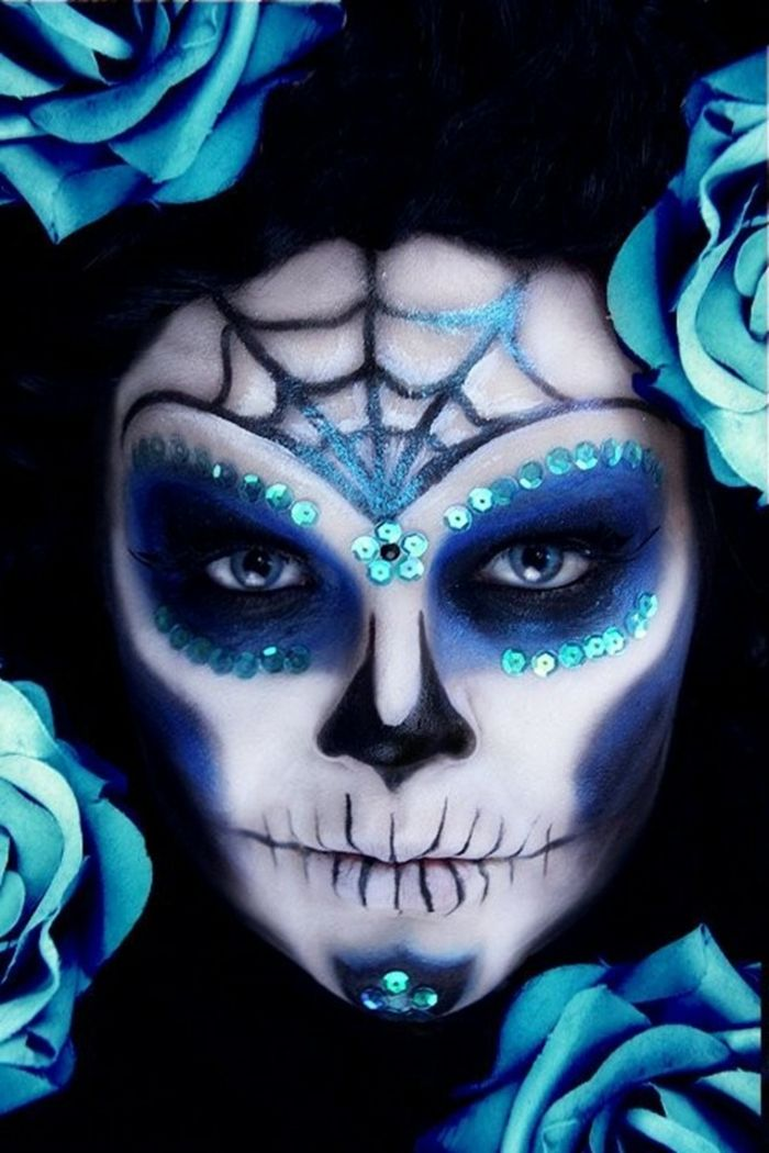 maquillage halloween bleu