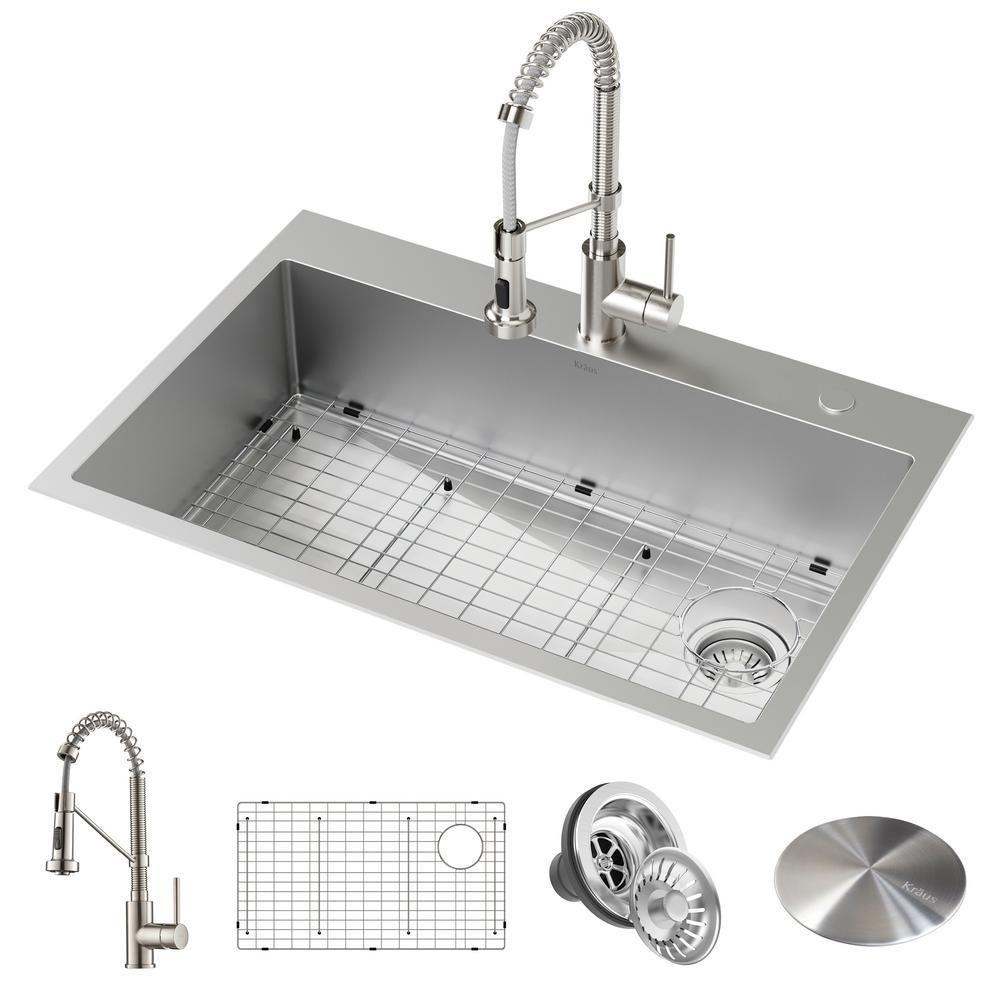 Kraus Loften All In One Dual Mount Drop In Stainless Steel 33 In 2 Hole Single Bowl Single Bowl Kitchen Sink Drop In Kitchen Sink Stainless Steel Kitchen Sink