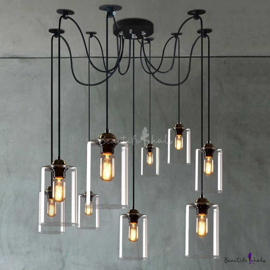 Retro Large Led Multi Light Pendant Light With Clear Cylindrical Shade Glass Pendant Lamp Ceiling Lights Diy Ceiling Lights