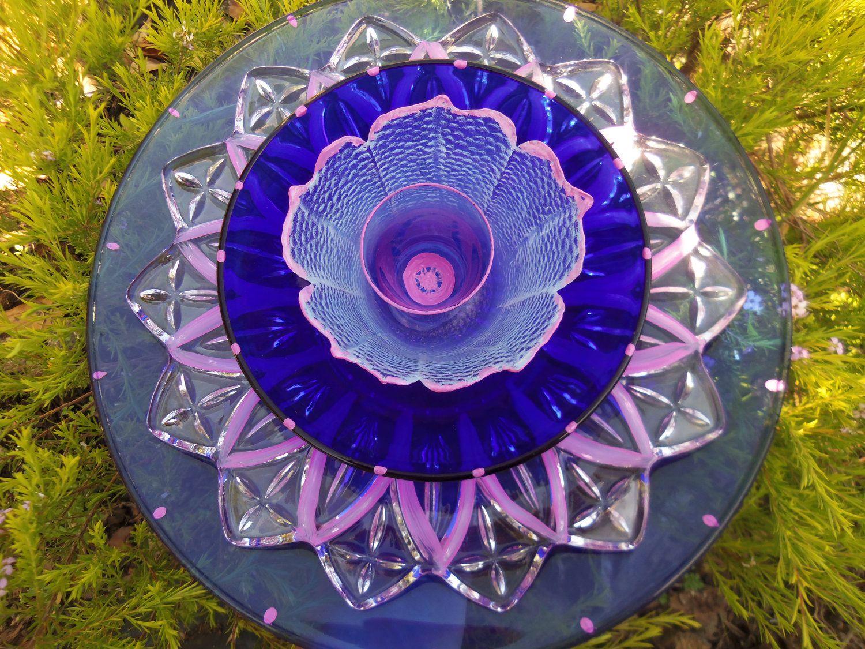 Glass Flower Garden Art Hand Painted Suncatcher Lawn ...